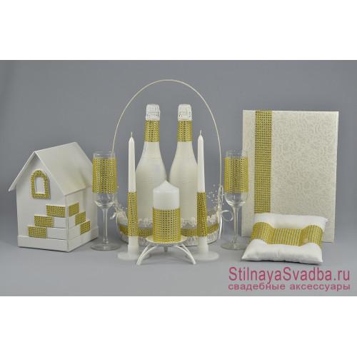 Свадебные  аксессуары   Crystal с золотыми стразами фото