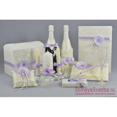 Свадебные аксессуары в нежно-сиреневых тонах фото