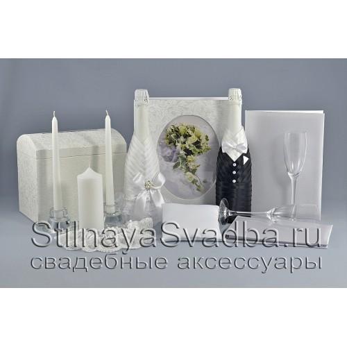 Набор заготовок свадебных аксессуаров белого цвета фото