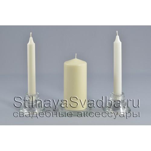 Комплект свечей домашний очаг цвета айвори фото