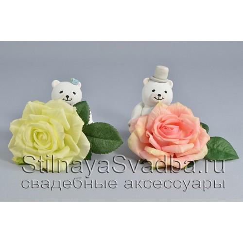 Заколка с белой и розовой  розой фото