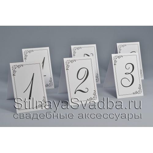 Номер для столиков  в белом цвете фото