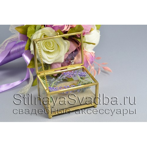 Стеклянная шкатулка для колец с лавандой фото