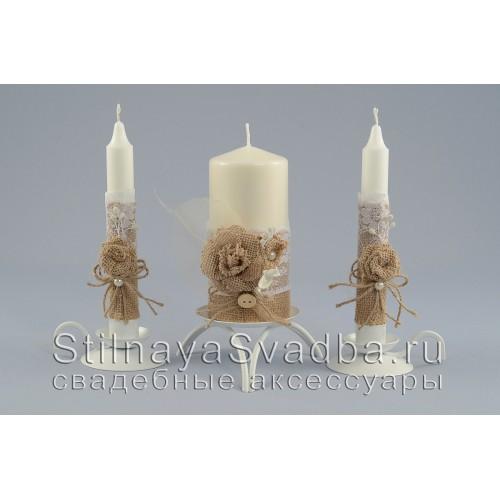 Рустикальные свадебные свечи с розами фото