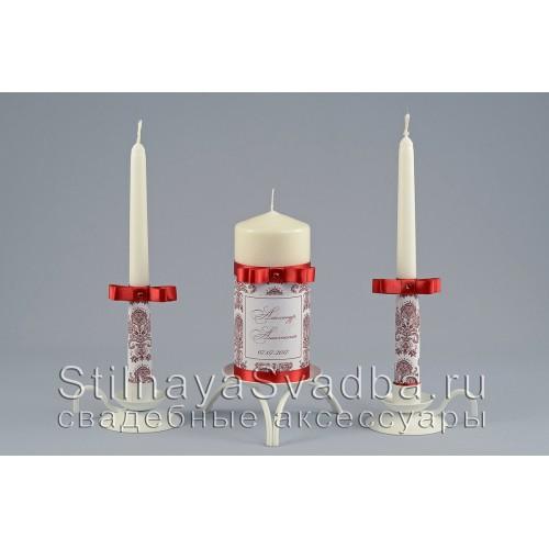 Свадебные свечи цвета марсала с   узором шеврон фото