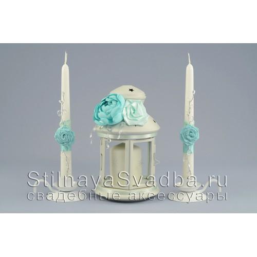 Комплект свечей  Мятный хрусталь с подсвечником -фонариком фото