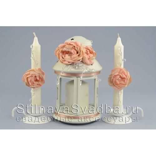 Свадебные аксессуары в персиково-пудровом цвете. Фото 000.