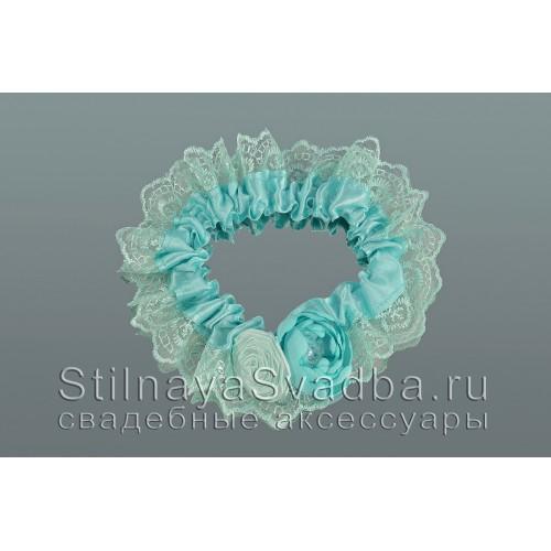 Подвязка невесты мятного цвета, Мятный хрусталь фото