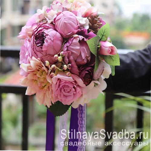 Свадебный букет в лилово-розовых тонах фото