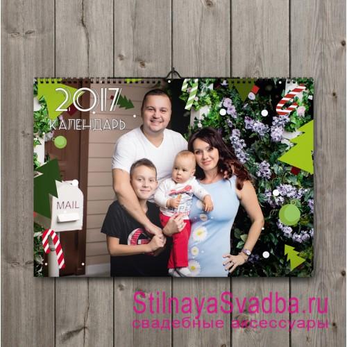 Семейный настенный календарь с фотографиями. Фото 000.