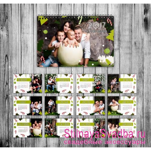 Семейный настольный  календарь с фотографиями фото