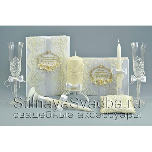 Белоснежная коллекция свадебных аксессуаров фото