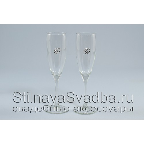 Бокалы для битья на свадьбу с сердечками серебряными фото