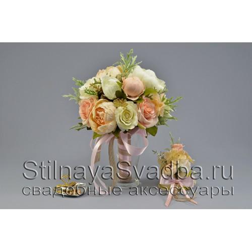 Букет невесты в пудровых тонах фото