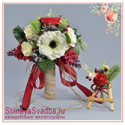 Букет  с  анемонами, розами, ягодками , сосновыми шишками,гортензией и эвкалиптом фото