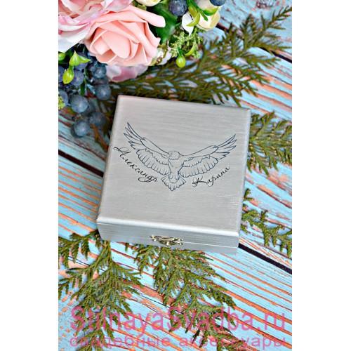 Свадебная шкатулочка  с орлом под серебро фото
