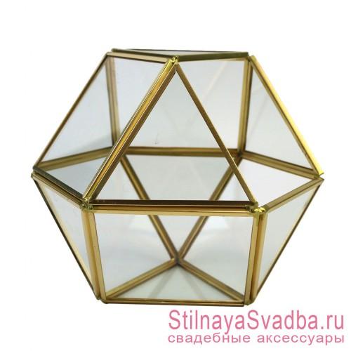 Геометрический флорариум в форме икосаэдра фото