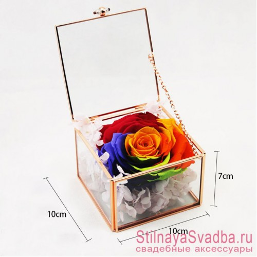 Стеклянная шкатулка для колец с разноцветной розой фото