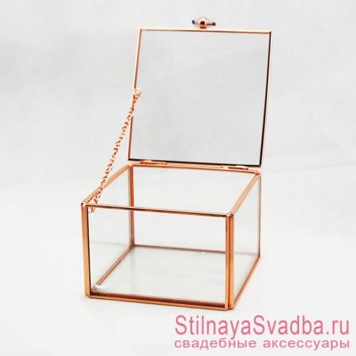 Стеклянная шкатулка для колец прямоугольной формы фото