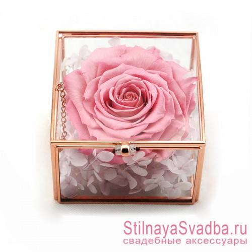 Стеклянная шкатулка для колец с розовой розой фото