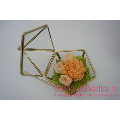 Стеклянная шкатулка с крышкой с флористической композицией в персиковых тонах фото
