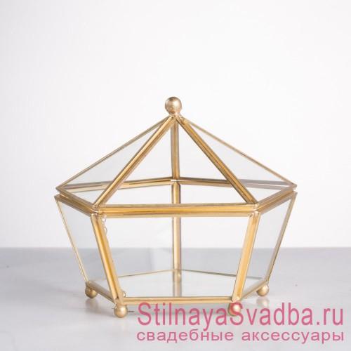 Стеклянная шкатулка с крышкой в форме большого икосаэдра фото