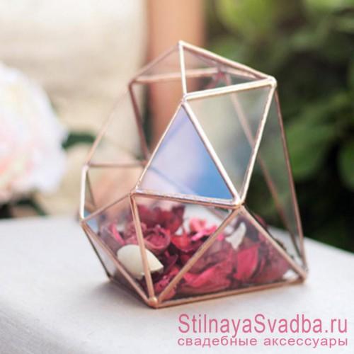 Флорариум в форме бриллианта с сухоцветами фото