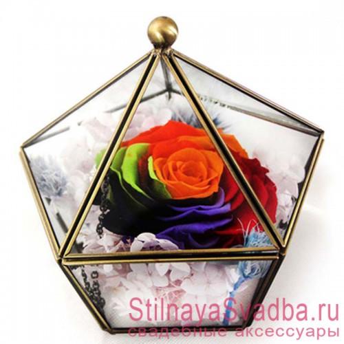 Стеклянная шкатулка с разноцветной розой фото