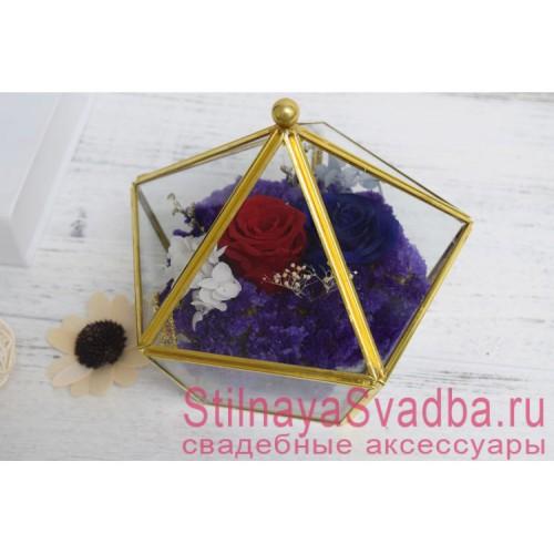 Прозрачная шкатулка в сине-красном декоре фото