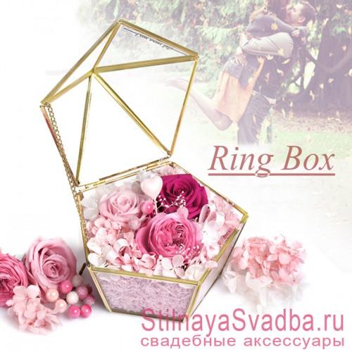 Стеклянная шкатулка с флористической композицией в розовых тонах фото