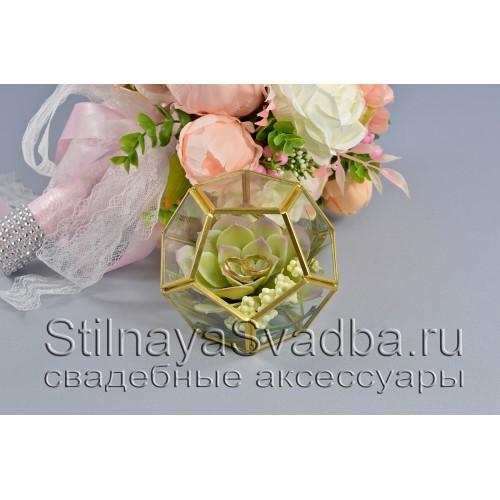 Флорариум в форме додекаэдра с каменной розой фото