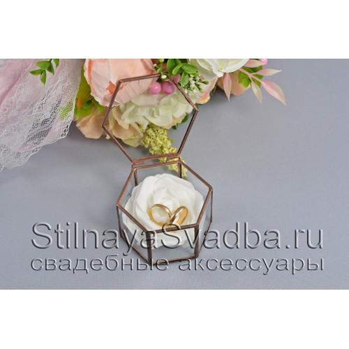 Флорариум в форме миниатюрной шестигранной призмы с белой розой фото