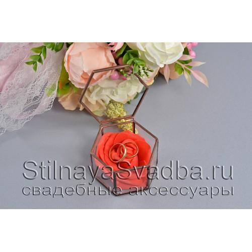Флорариум в форме миниатюрной шестигранной призмы с красной розой фото