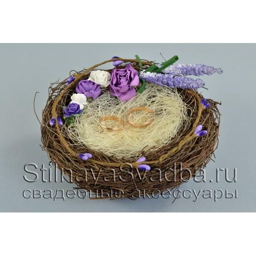 Гнездышко для обручальных колец с лавандой фото