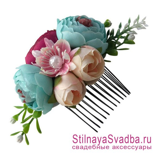 Гребешки  с цветами и зеленью  в прическу Бирюзовый фото