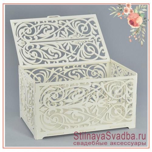 Казна деревянная свадебная Геральдическая лилия белая фото