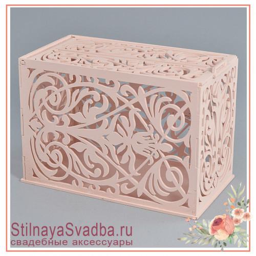 Казна деревянная свадебная Геральдическая лилия розовая фото