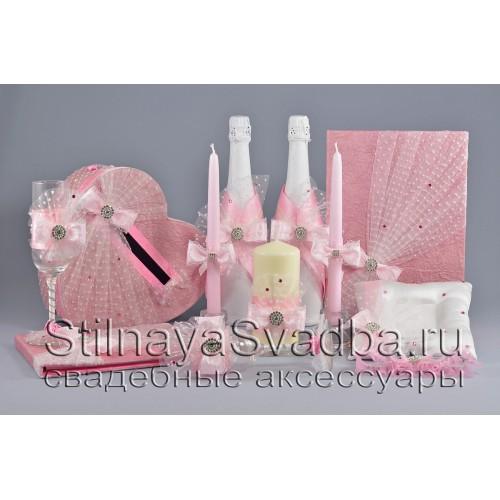 Коллекция свадебных аксессуаров в розовом цвете  с кристаллами фото