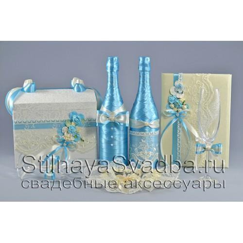 Коллекция свадебных аксессуаров нежно-бирюзового цвета  фото