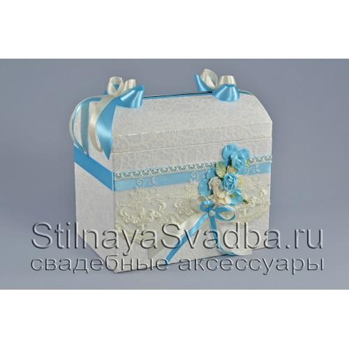 Сундучок  нежно-бирюзового цвета  с белым и айвори фото