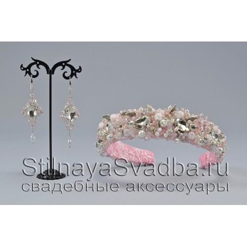 Свадебный комплект из хрустальных бусин  в розовом цвете фото