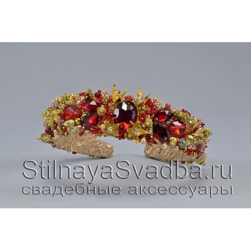 Ободок из хрустальных бусин и кристаллов в красном цвете Лоренсия фото