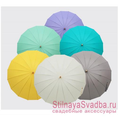 Зонт трость с бамбуковой ручкой в ассортименте фото