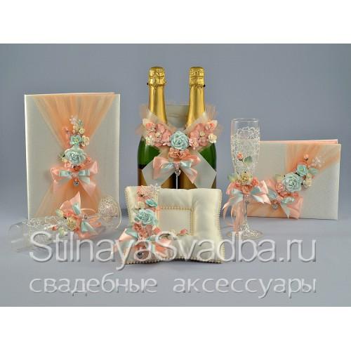 Коллекция свадебных аксессуаров Персиковая мята  фото