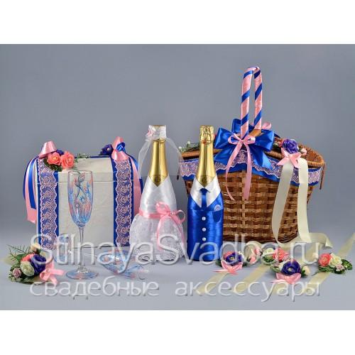 Сине-розовая коллекция свадебных аксессуаров  фото