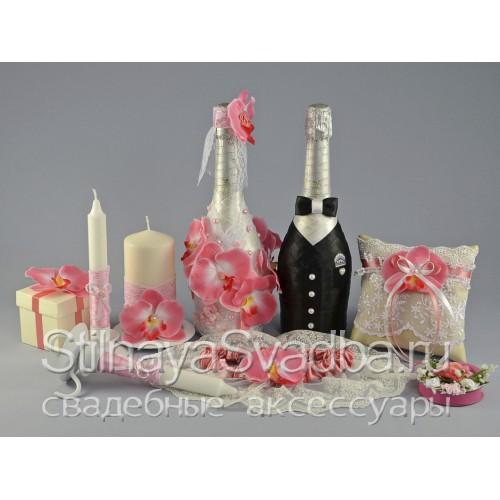 Свадебные аксессуары с розовыми орхидеями Pinк фото