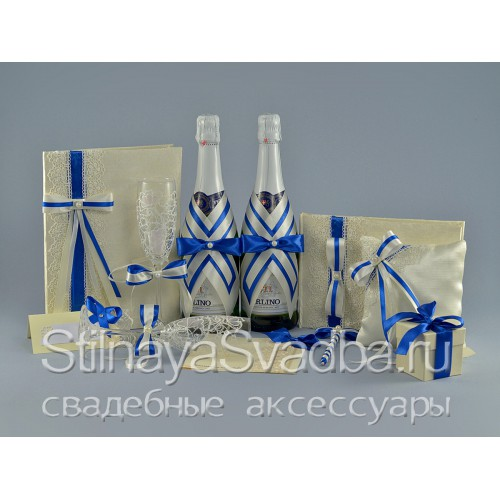 Свадебные аксессуары в сине-белом цвете Индиго фото