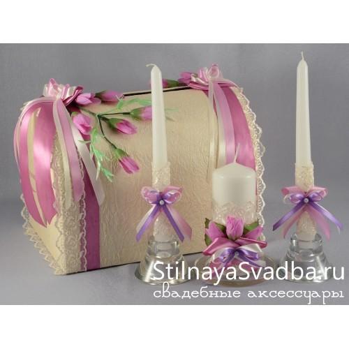 Свадебный сундучок и свечи Лиловый крокус фото