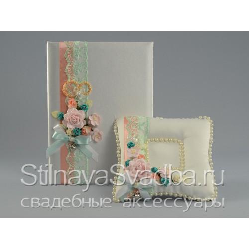 Мини - набор аксессуаров в цвете мяты . Фото 000.
