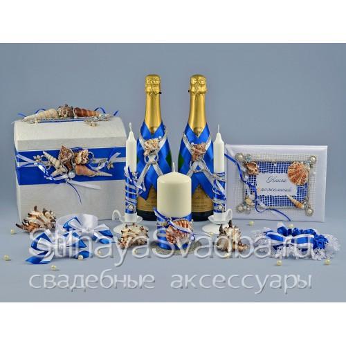 Свадебные аксессуары в морском стиле, Синее море  фото